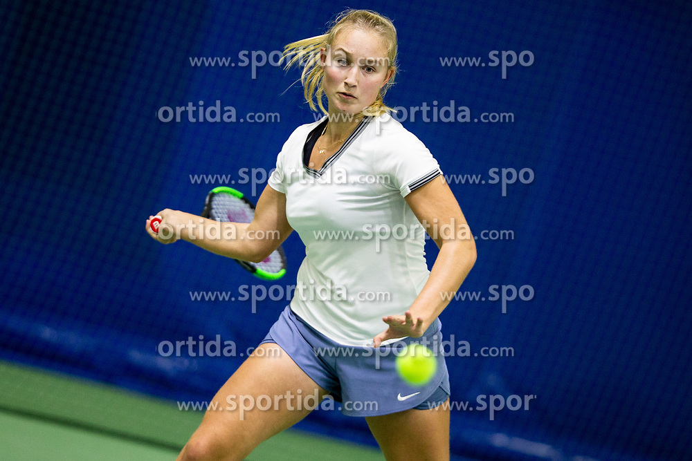 Tjasa Klevisar playing final match during Slovenian National Tennis Championship 2019, on December 21, 2019 in Medvode, Slovenia. Photo by Vid Ponikvar/ Sportida
