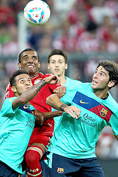 27.07.2011, Allianz Arena, Muenchen, GER, Audi Cup 2011, Finale,  FC Barcelona vs FC Bayern , im Bild Luiz Gustavo (Bayern #30) kaempft mit Gabriel Milito (Barcelona #18) und Adriano (Barcelona #21)  // during the Audi Cup 2011,  FC Barcelona vs FC Bayern  , on 2011/07/27, Allianz Arena, Munich, Germany, EXPA Pictures © 2011, PhotoCredit: EXPA/ nph/  Straubmeier       ****** out of GER / CRO  / BEL ******