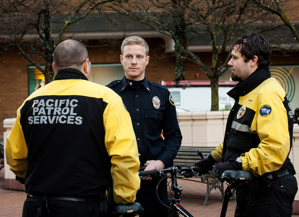 Pacific Patrol Services bicycle staff at an on-location meeting in Portland, Oregon