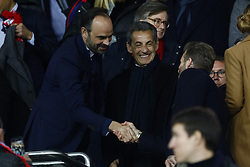 March 6, 2018 - Paris, Ile-de-France, France - David Beckham, Edouard Philippe french first ministry and Nicolas Sarkozy during the UEFA Champions League, round of 16, 2nd leg football match between Paris Saint-Germain FC and Real Madrid CF on March 6, 2018 at Parc des Princes stadium in Paris, France. (Credit Image: © Mehdi Taamallah/NurPhoto via ZUMA Press)