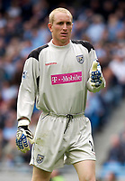 Photo: Daniel Hambury.<br /> Manchester City v West Bromich Albion. Barclaycard Premiership. 13/08/2005.<br /> West Brom's new keeper Chris Kirkland celebrates keeping a clean sheet.