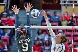 BLOOMINGTON, IL - October 12: Ella Francis during a college Women's volleyball match between the ISU Redbirds and the Valparaiso Crusaders on October 12 2018 at Illinois State University in Bloomington, IL. (Photo by Alan Look)