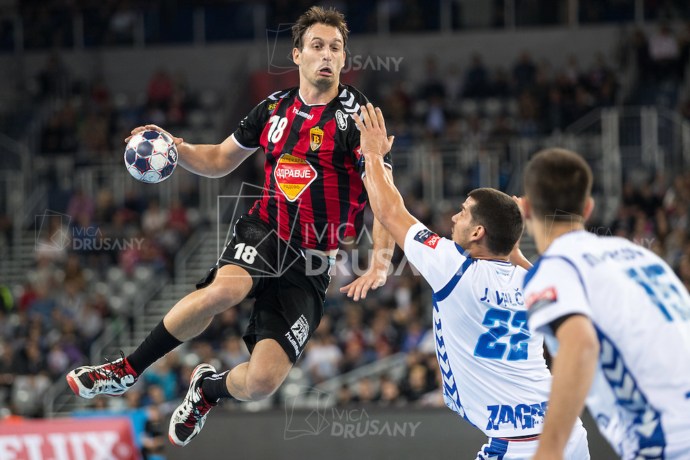 ZAGREB, CROATIA - OCTOBER 22, 2016: EHF Men's Champions League 2016-17, Group (B) phase. HC Zagreb PPD VS HC Vardar. Igor KARACIC (18) shooting at goal.