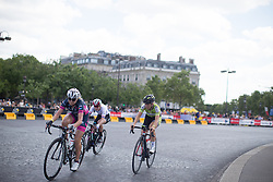 Olga Zablinskaya (RUS) of BePink Cycling Team rides around the Arc de Triomphe the La Course, a 89 km road race in Paris on July 24, 2016 in France.