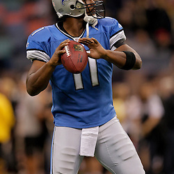 2009 September 13: Detroit Lions quarterback Daunte Culpepper (11) in warm ups before a week one regular season game between the New Orleans Saints and the Detroit Lions at the Louisiana Superdome in New Orleans, Louisiana.