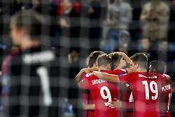 October 8, 2017 - Oslo, NORWAY - 171008 Sander Berge, Alexander Toft SÂ¿derlund, Alexander SÂ¿rloth, Markus Henriksen and Mohamed Elyounoussi of Norway celebrates the 1-0 goal behind goalkeeper Michael McGovern of Northern Ireland during the FIFA World Cup Qualifier match between Norway and Northern Ireland on October 8, 2017 in Oslo..Photo: Fredrik Varfjell / BILDBYRN / kod FV / 150028 (Credit Image: © Fredrik Varfjell/Bildbyran via ZUMA Wire)