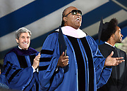 Photo by Mara Lavitt<br /> New Haven, CT<br /> May 22, 2017<br /> Scenes from the Yale University Commencement. Stevie Wonder, honorary doctorate recipient.