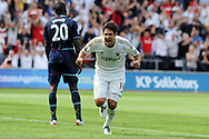 Swansea city's Danny Graham © celebrates after he scores the 3rd goal. Barclays Premier league, Swansea city  v West Ham Utd at the Liberty Stadium in Swansea, South Wales  on Saturday 25th August 2012. pic by Andrew Orchard, Andrew Orchard sports photography,