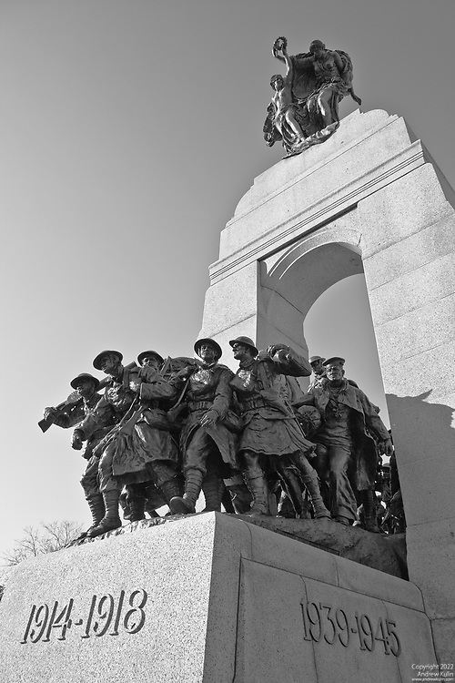 Black and white conversion and HDR photograph of the Canadian National War Memorial in Ottawa, Canada.  November 11, 2007.