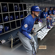 NEW YORK, NEW YORK - July 03: Kris Bryant #17 of the Chicago Cubs in the dugout preparing to bat during the Chicago Cubs Vs New York Mets regular season MLB game at Citi Field on July 02, 2016 in New York City. (Photo by Tim Clayton/Corbis via Getty Images)