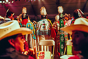 Drum circle and fancy dancers at Schemitzun Powwow in North Stonington, Connecticut, on the Mashantucket Pequot reservation in 1996.