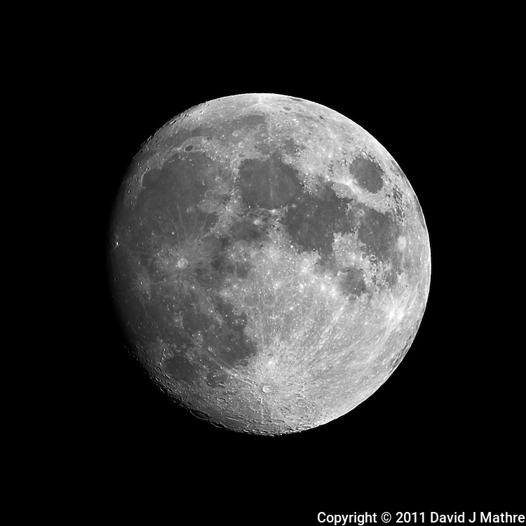 Waxing Gibbous Moon (92%). Summer Night in New Jersey. Image taken with a Nikon D3s and 600 mm f/4 VR lens + TC-E III 20 teleconverter (ISO 200, 1200 mm, f/8, 1/200 sec). Raw image processed with Capture One Pro 6, and Photoshop CS5