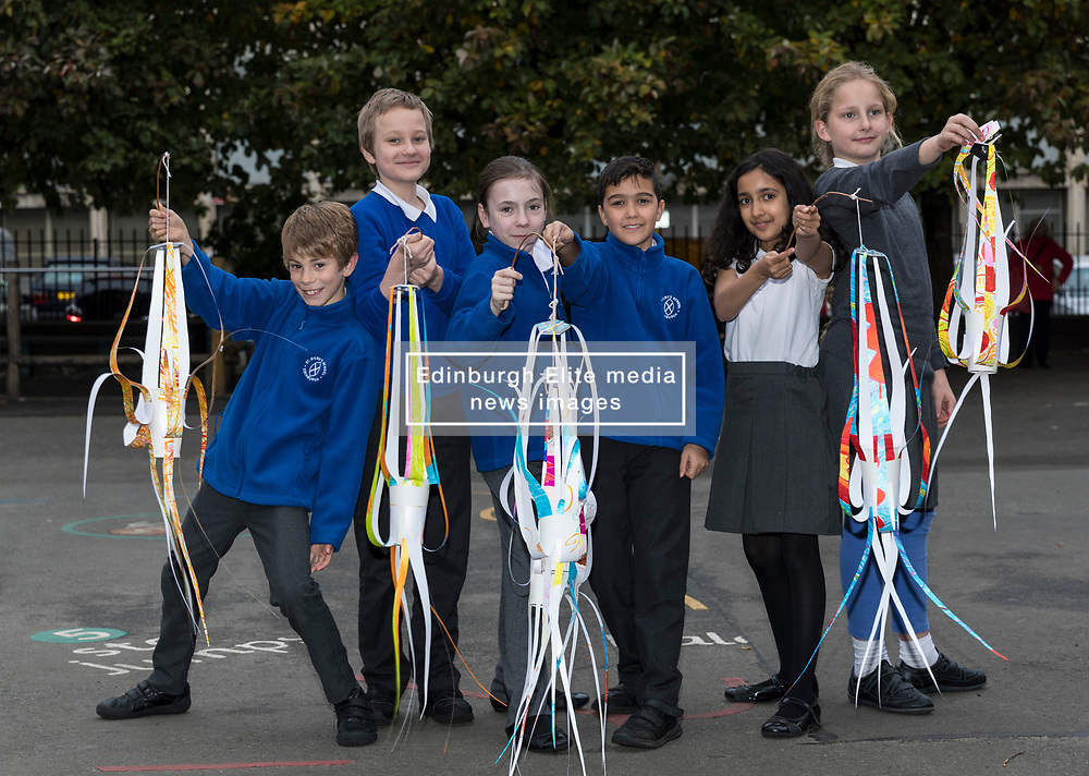 "Over 300 children from primary schools across Edinburgh are taking part in lantern making workshops this October, as part of the activities leading up to Diwali, the annual Festival of Light celebrated by Hindus, Jains and Sikhs throughout the world.<br /> <br /> The workshops, for P6 and 7 pupils, are being led by Leith-based artists, Vision Mechanics. The lanterns will be designed as ""flowers of light"", and constructed using special waterproof paper to withstand the Scottish weather.<br /> <br /> Pictured: Pupils from P6 of St Mary's RC Primary School"
