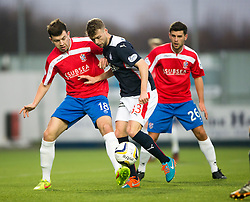 Cowdenbeath's Darren Brownlie and Falkirk's Rory Loy.<br /> Falkirk 1 v 0 Cowdenbeath, William Hill Scottish Cup game played 29/11/2014 at The Falkirk Stadium..
