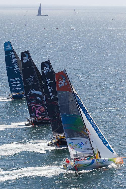 FRANCE, Lorient. 1st July 2012. Volvo Ocean Race, Start Leg 9 Lorient-Galway. l-r Team Telefonica, PUMA Ocean Racing powered by BERG, Abu Dhabi Ocean Racing and Team Sanya.