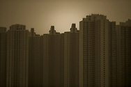 The skyline of Hong Kong near Chai Wan, Hong Kong, China.  Hong Kong Special Administrative Region is one of two special administrative regions of the People's Republic of China.  Hong Kong is a leading financial centre in China and is the wealthiest urban centre in China.