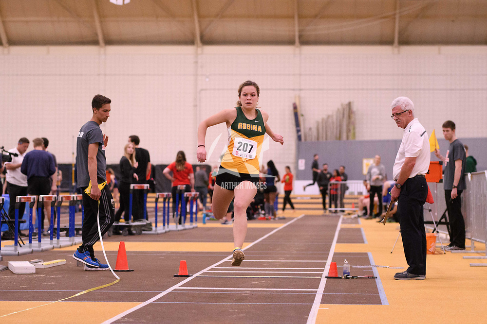 Jules Hansen in action during the 2018 Canada West Track & Field Championship on February  24 at James Daly Fieldhouse. Credit: Arthur Ward/Arthur Images