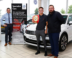 Pictured: IBF Youth Bantamweight Champion Lee McGregor with Lee Johnstone (VW Specialist Cars Fife) Greg Montignani (VW Specialist Cars Fife) having agreed a long term deal with local car suppliers VW Specialist Cars Fife. <br /> <br /> Colin Poultney | EEm 01/08/2018