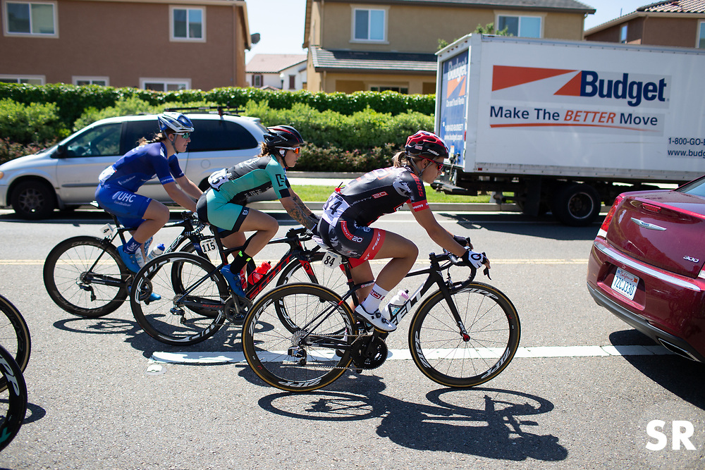 Jasmin Duehring (USA) of Twenty20 p\b SHO-AIR Cycling Team rides at the front in the neutral zone during Stage 1 of the Amgen Tour of California - a 124 km road race, starting and finishing in Elk Grove on May 17, 2018, in California, United States. (Photo by Balint Hamvas/Velofocus.com)
