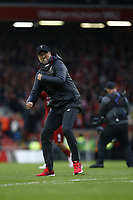Football - 2018 / 2019 Premier League - Liverpool vs. Tottenham Hotspur<br /> Liverpool manager Jurgen Klopp celebrates in front of the Kop as Liverpool take the three points, at Anfield.<br /> <br /> COLORSPORT/ALAN MARTIN