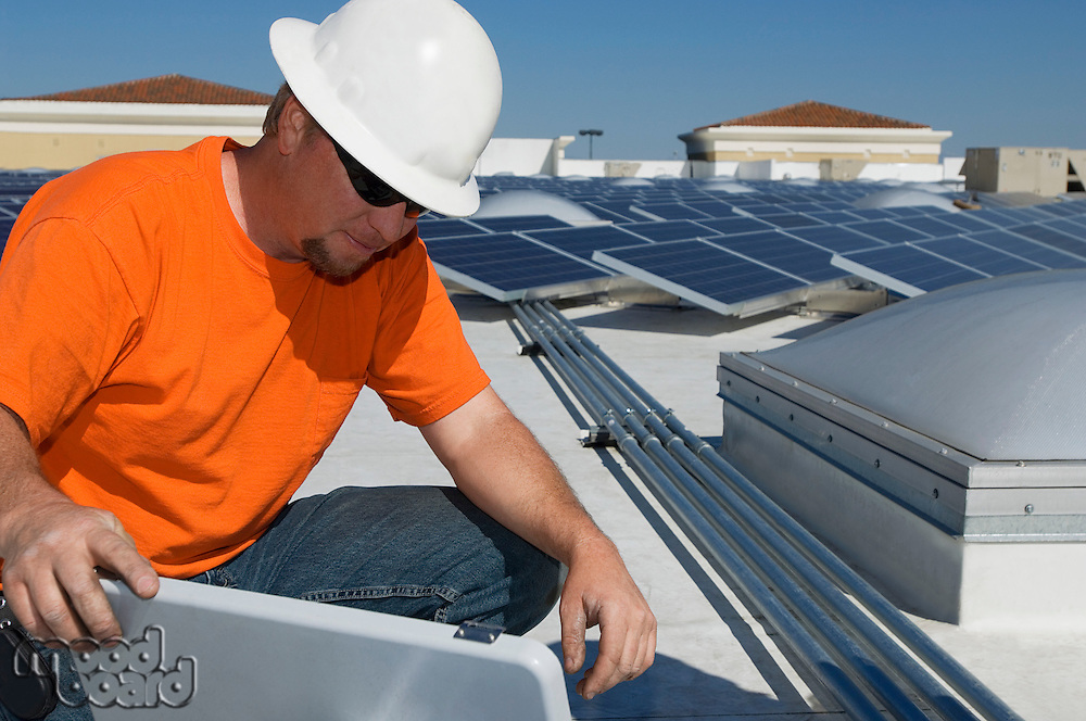 Electrical Engineer Working at Solar Power Plant