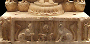 Detail from a Buddhist, votive stele dated 550-577 AD. Chinese, Northern Qi dynasty (550-577 AD) in marble. Hebei (province)