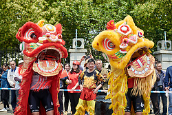 Lotto Soudal Ladies dance in dragon costumes at Tour of Chongming Island 2019 - Stage 2, a 126.6 km road race from Changxing Island to Chongming Island, China on May 10, 2019. Photo by Sean Robinson/velofocus.com