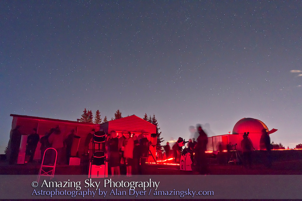 Observers at the Rothney Observatory Open House, Sept, 17, 2011. A single exposure of 8s at ISO 3200 with Canon 7D and 10-22mm lens at f/4.5.