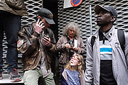 """France, Paris, 2 May 2016. Protest Gathering against evacuation ordered by the court of city of Paris. Before the speech of the migrants and the association  """"LA CHAPELLE DEBOUT"""" who occupied a disused high school since 21st April."""