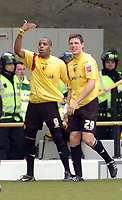 Photo: Leigh Quinnell.<br /> Watford v Luton Town. Coca Cola Championship. 09/04/2006. Watfords Darius Henderson helps Marlon King(L) celebrate his goal.