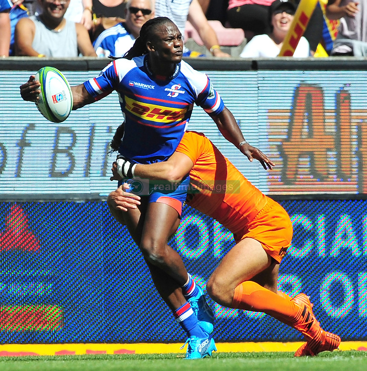 Cape Town-180217 Stomers player Seabelo Seanatla  tackled by Bautista  Ezcurra of Jaguares in the opening game of the Super 15 at Newlands .Stomers won the game 28-25.photograph:Phando Jikelo/African News Agency/ANA