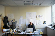 Philadelphia, Pennsylvania - September 16, 2015: Scott Mirkin, Co-Founder & Executive Producer of ESM Productions, deals with last minute production issues in his downtown Philadelphia office Wednesday September 16, 2015. <br /> <br /> Scott Mirkin's company ESM is heading the production of The World Meeting Of Families and Pope Francis's visit to Philadelphia this Fall. The events will take place along the Benjamin Franklin Parkway.<br /> <br /> CREDIT: Matt Roth for The New York Times<br /> Assignment ID: 30179397A