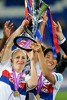 Saki Kumagai of Olympique Lyon celebrates with the Champions League trophy during the UEFA Women's Champions League Final between Lyon Women and Paris Saint Germain Women at the Cardiff City Stadium, Cardiff, Wales on 1 June 2017. Photo by Giuseppe Maffia.<br /> <br /> Giuseppe Maffia/UK Sports Pics Ltd/Alterphotos