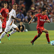 Philippe Coutinho, Liverpool, in action during the Liverpool Vs AS Roma friendly pre season football match at Fenway Park, Boston. USA. 23rd July 2014. Photo Tim Clayton