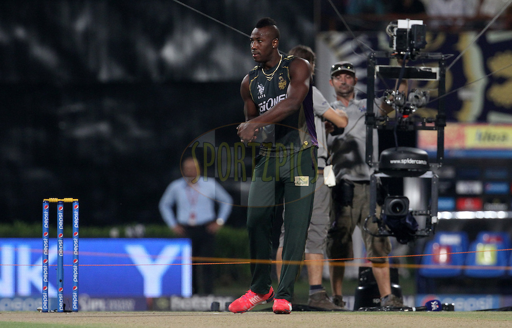 Kolkata Knight Riders player Andre Russell before the start of the match 38 of the Pepsi IPL 2015 (Indian Premier League) between The Kolkata Knight Riders and The Sunrisers Hyderabad held at Eden Gardens Stadium in Kolkata, India on the 4th May 2015.<br /> <br /> Photo by:  Vipin Pawar / SPORTZPICS / IPL