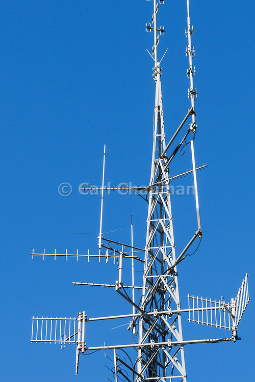 mobile radio and yagi antennas on cellsite tower on Mt Coot-tha, Brisbane