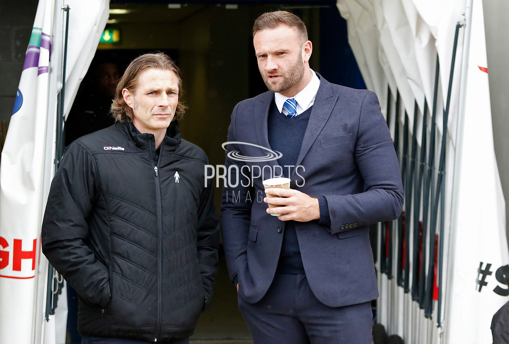 Wycombe Wanderers manager Gareth Ainsworth and Chesterfield's Interim Manager Ian Evatt during the EFL Sky Bet League 2 match between Chesterfield and Wycombe Wanderers at the b2net stadium, Chesterfield, England on 28 April 2018. Picture by Paul Thompson.
