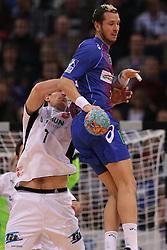 HANDBALL:  Germany 1. Bundesliga, Hamburg, 13.02.2014<br />Pascal Hens (HSV HandBall) - Daniel Kubes (MT Melsungen)<br /> copyright: pixathlon