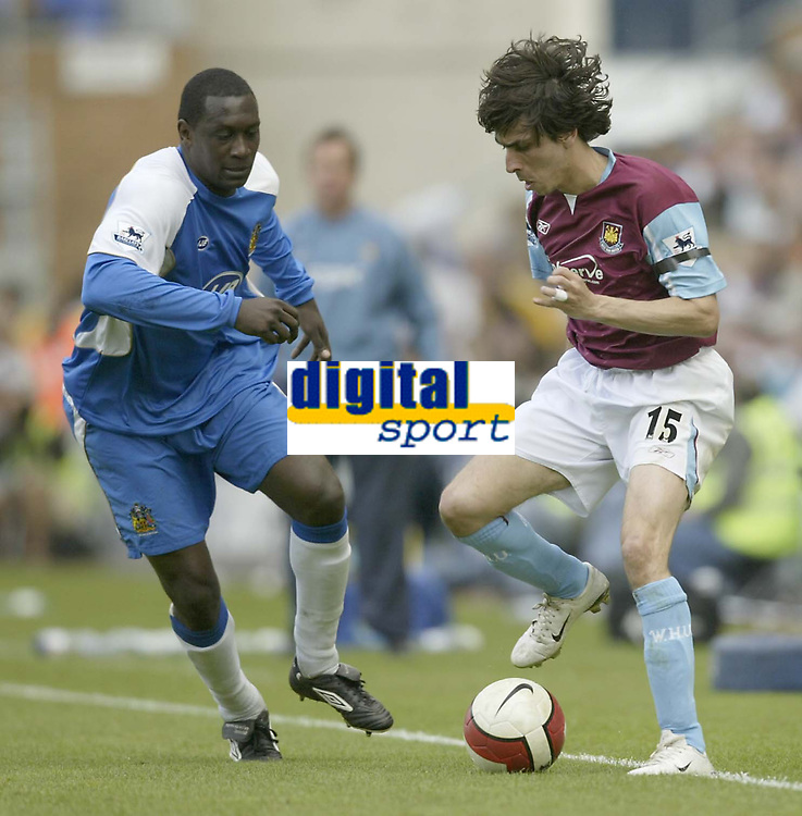 Photo: Aidan Ellis.<br /> Wigan Athletic v West Ham United. The Barclays Premiership. 28/04/2007.<br /> West Ham's Youssi Benayoun looks to beat Wigan's Emile Heskey