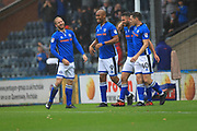 GOAL Matty Done celebrates scoring 1-0 during the EFL Sky Bet League 1 match between Rochdale and Bristol Rovers at Spotland, Rochdale, England on 21 October 2017. Photo by Daniel Youngs.