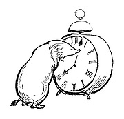 (Mole and alarm clock - illustration)