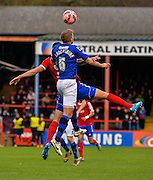 Oliver Lancashire wins the ball during the The FA Cup match between Aldershot Town and Rochdale at the EBB Stadium, Aldershot, England on 7 December 2014.