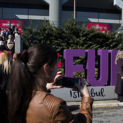 Women arrive to a Yes rally organized by pro-government KADEM (Women and Democracy organization) at the Abdi Ipekci Arena in Istanbul on March 5, 2017.<br /> On April 16, 2017, Turkish citizens will vote on proposed changes on the constitution that could replace the current parliamentary government system with a presidential one.