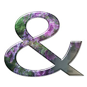 The Ampersand symbol. Part of a set of letters, Numbers and symbols of 3D Alphabet made with a floral image on white background