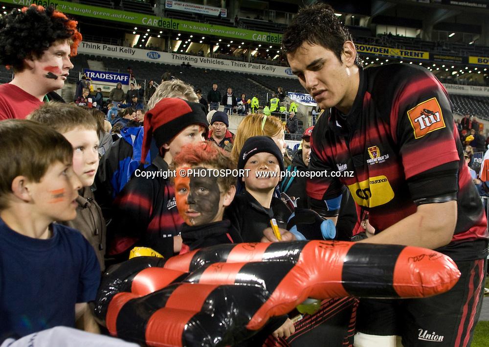 Isaac Ross signs autographs following Canterbury's win. Air NZ Cup, Quarter Final, Canterbury v Tasman, AMI Stadium, Christchurch, Friday 9 October 2008. Photo: Joseph Johnson/PHOTOSPORT