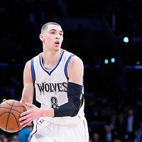 10 April 2014: Minnesota Timberwolves guard Zach LaVine (8) looks to pass the ball during the Los Angeles Lakers 106-98 victory over the Minnesota Timberwolves, at the Staples Center, Los Angeles, California, USA.