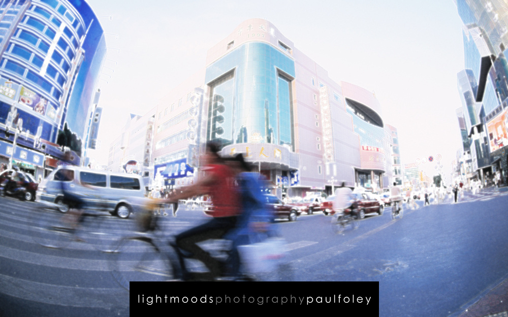 Busy intersection in Yinchuan, Ningxia Province, China.