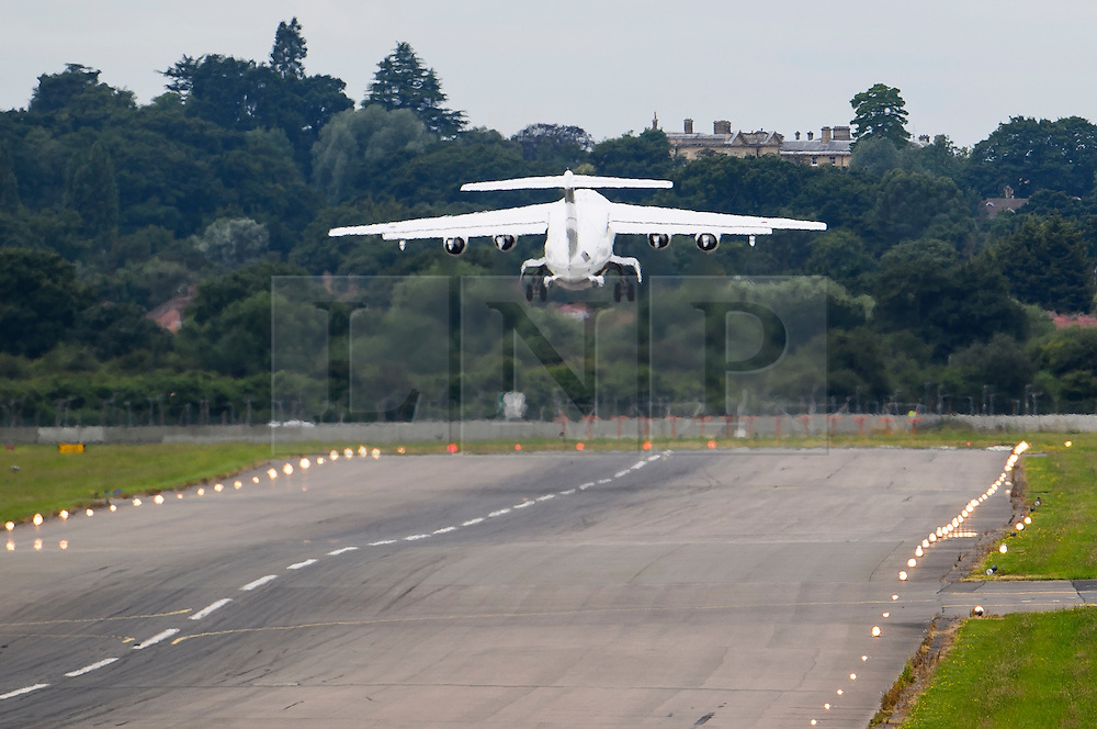 © Licensed to London News Pictures. 15/07/2016. London, UK.  A plane carrying British prime minister, Theresa May is seen taking off at RAF Northolt. Mrs May is going to Scotland to meet with First Minister Nicola Sturgeon in Edinburgh on her first visit as Prime Minister. Photo credit: Ben Cawthra/LNP