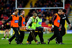 Saracens Lock (#5) Alistair Hargreaves is stretchered off during the second half of the match - Photo mandatory by-line: Rogan Thomson/JMP - Tel: Mobile: 07966 386802 04/11/2012 - SPORT - RUGBY - Vicarage Road - Watford. Saracens v London Wasps - Aviva Premiership