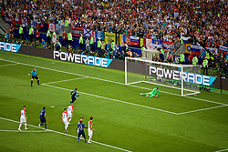 MOSCOW, RUSSIA - Sunday, July 15, 2018: France's Antoine Griezmann scores the second goal, from a penalty kick, during the FIFA World Cup Russia 2018 Final match between France and Croatia at the Luzhniki Stadium. (Pic by David Rawcliffe/Propaganda)